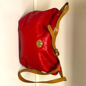 Saddle River red double pouch purse